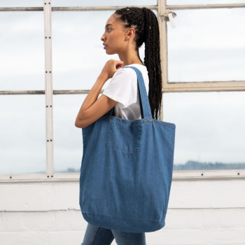 bio baumwolle organic cotton shopper bag denim blue herr ganze