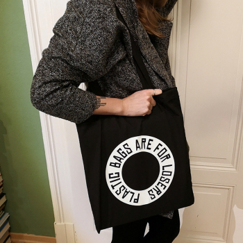 PLASTIC BAGS ARE FOR LOSERS - organic tote bag