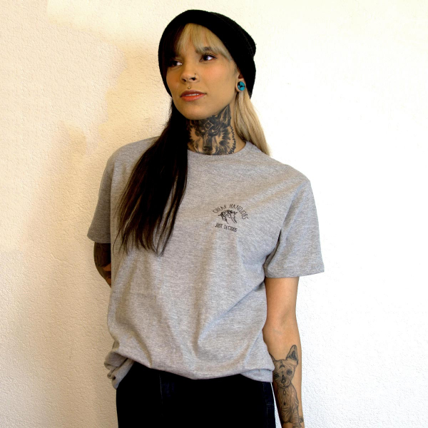 cheaphandjobs logo shirt grey 1